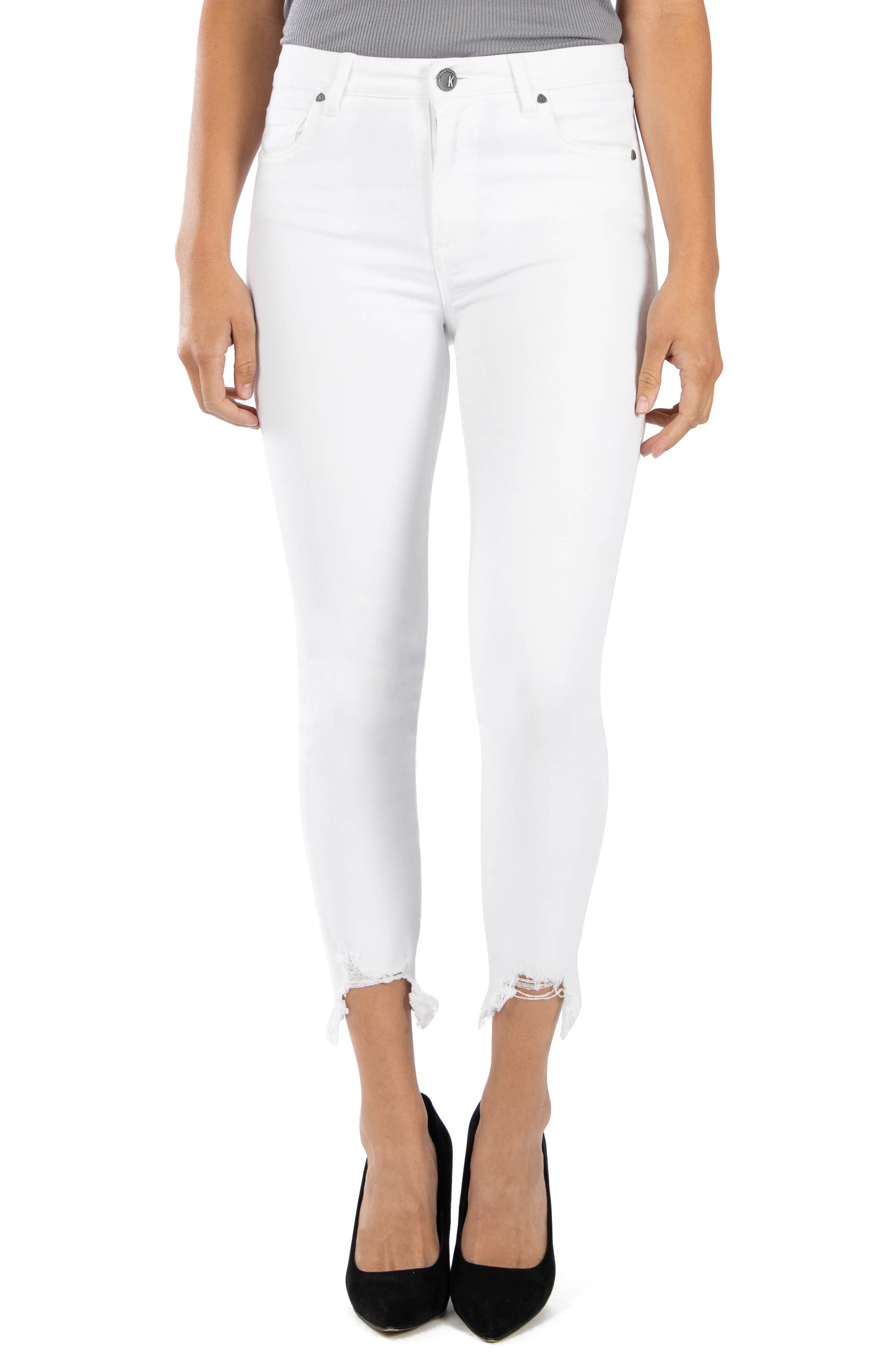 Kut From The Kloth CONNIE HIGH WAIST CHEW HEM ANKLE SKINNY JEANS