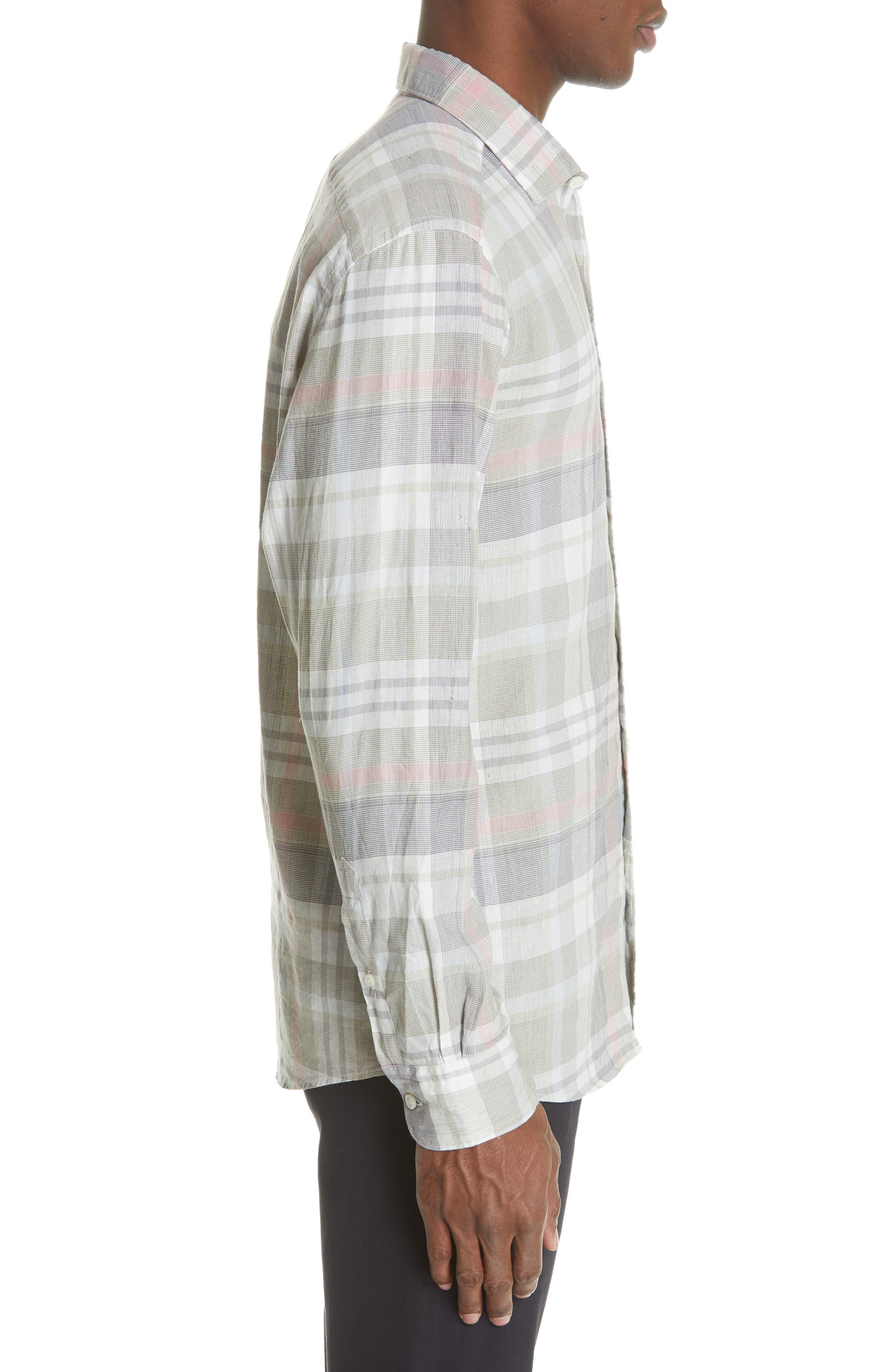 ,                             Slim Fit Plaid Linen & Cotton Sport Shirt,                             Alternate thumbnail 4, color,                             SAGE