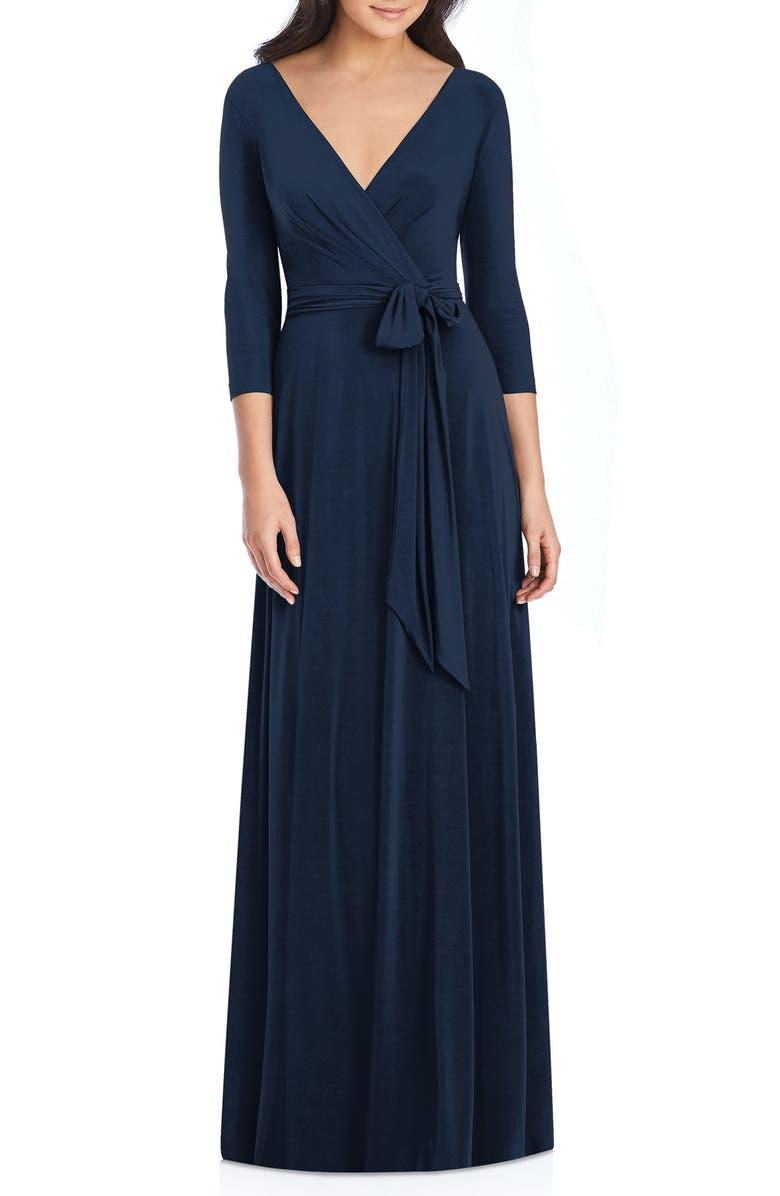DESSY COLLECTION Jersey Tie Waist Gown, Main, color, MIDNIGHT