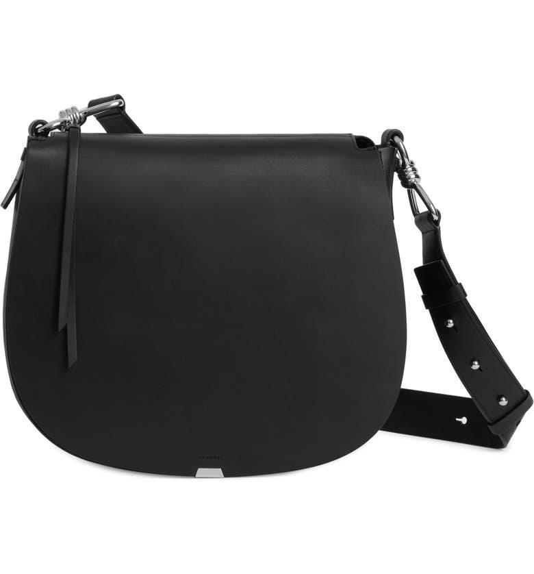 ALLSAINTS Captain Round Leather Shoulder Bag, Main, color, 001