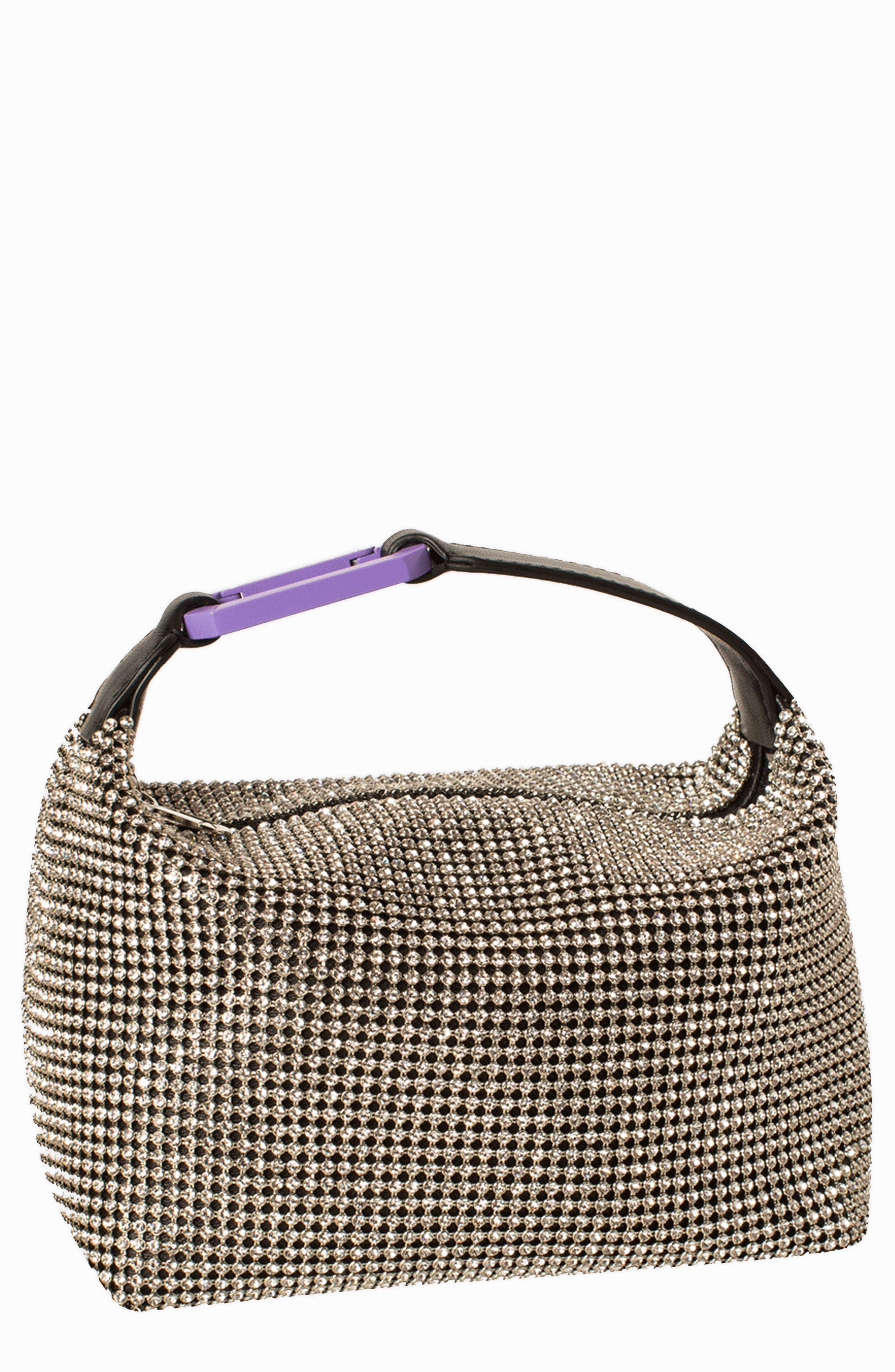 Eera Moonbag Crystal Mesh & Leather Handbag