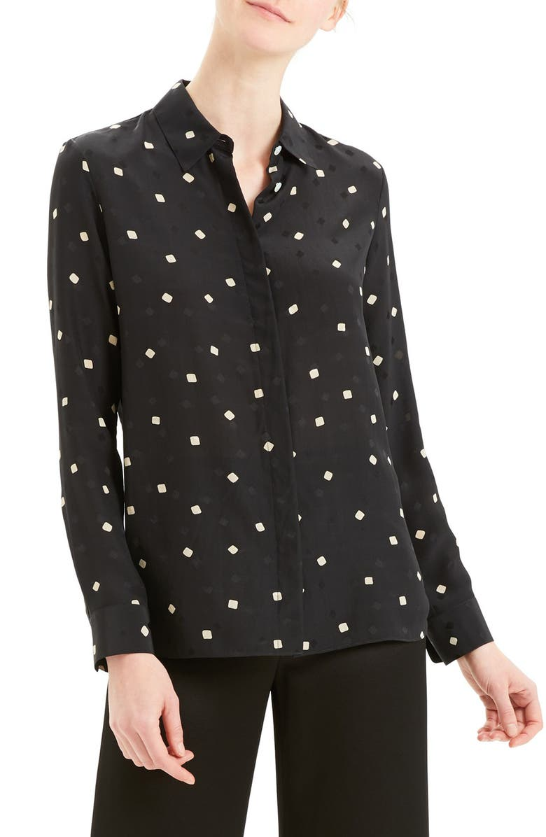 THEORY Classic Silk Shirt, Main, color, BLACK MULTI
