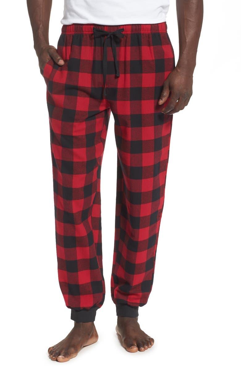 NORDSTROM MEN'S SHOP Flannel Jogger Pants, Main, color, RED JESTER BLACK BUFFALO