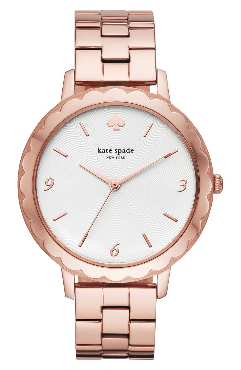 KATE SPADE NEW YORK metro bracelet watch, 38mm, Main, color, ROSE GOLD/ WHITE/ ROSE GOLD