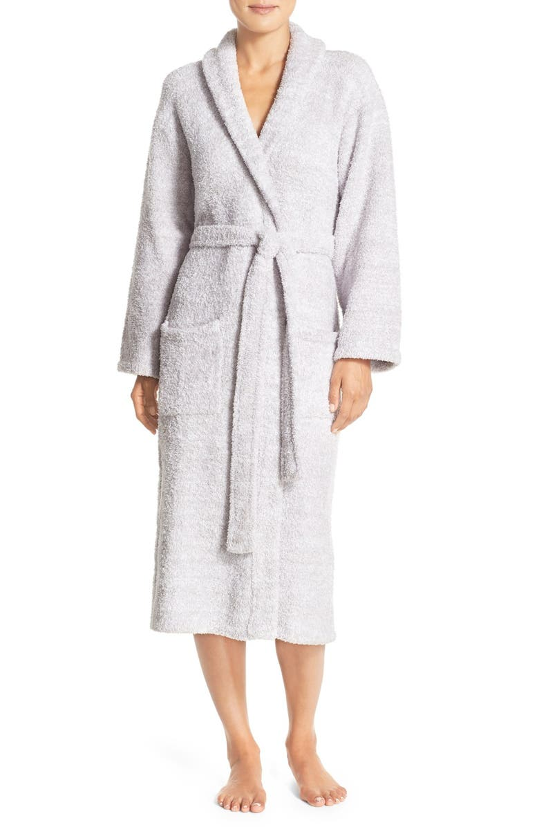 BAREFOOT DREAMS<SUP>®</SUP> CozyChic<sup>®</sup> Unisex Robe, Main, color, LIGHT GRAY/ WHITE