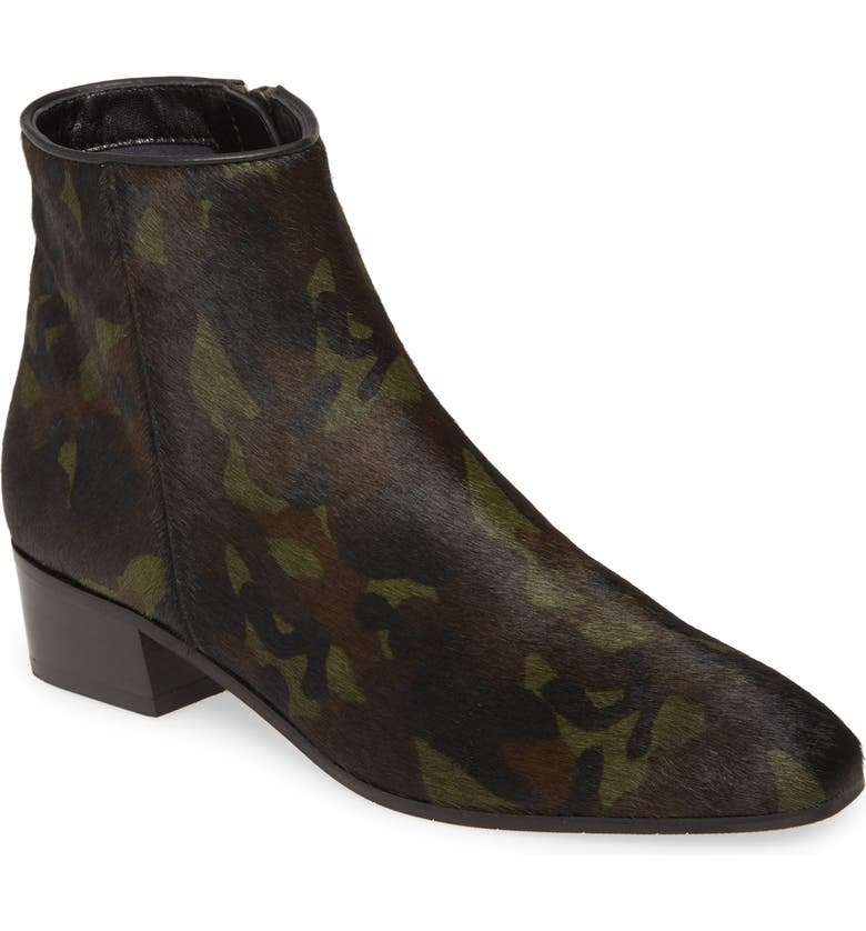AQUATALIA Fuoco Water Resistant Genuine Calf Hair Bootie, Main, color, CAMOUFLAGE CALF HAIR