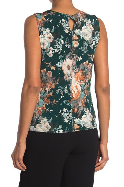 Image of Calvin Klein Floral Printed Knit Blouse