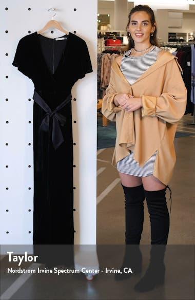 Breanna Faux Wrap Front Velvet Jumpsuit, sales video thumbnail