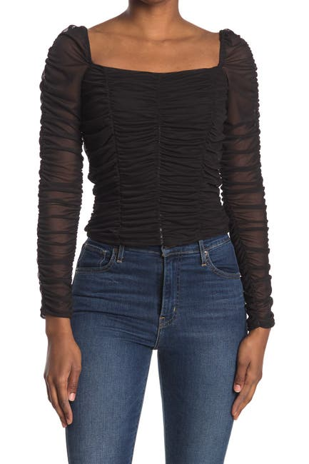 Image of Abound Ruched Mesh Square Neck Top