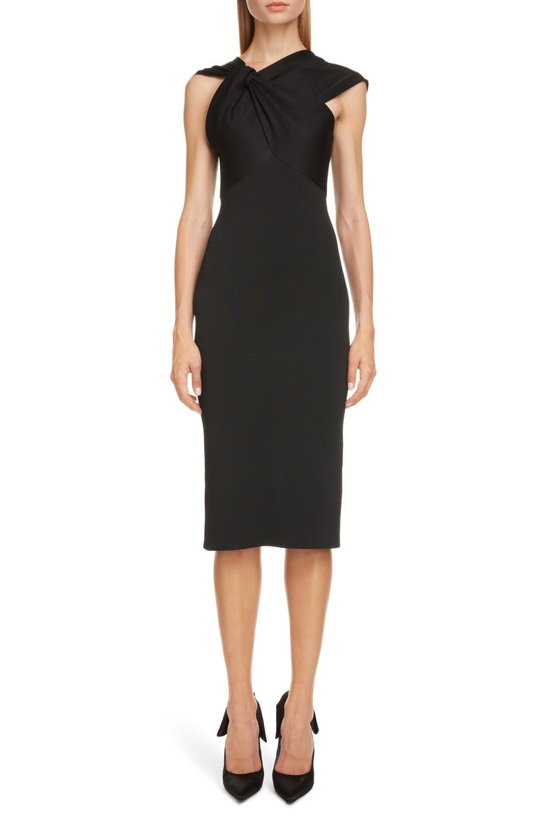 VICTORIA BECKHAM Twist Drape Compact Shine Dress, Main, color, BLACK
