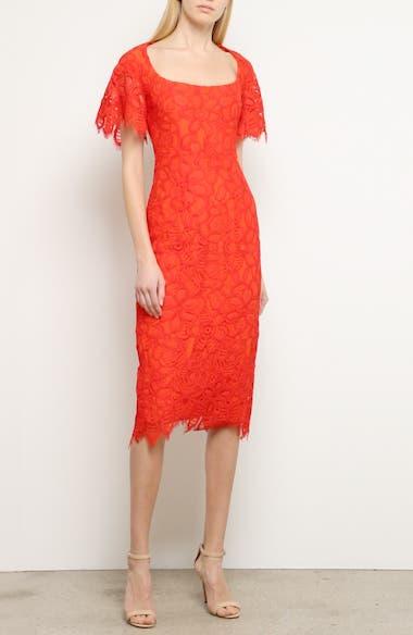 Flutter Sleeve Eyelash Lace Midi Dress, video thumbnail