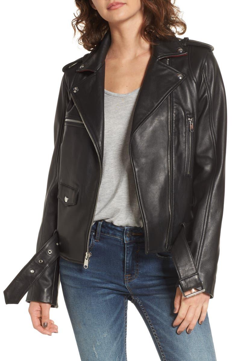 90d1ab3d04 Contrast Trim Leather Moto Jacket