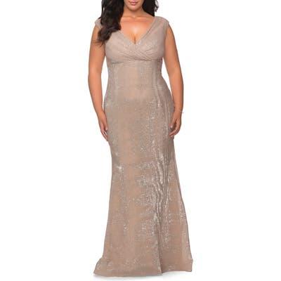 Plus Size La Femme Sequin V-Neck Trumpet Gown, Beige