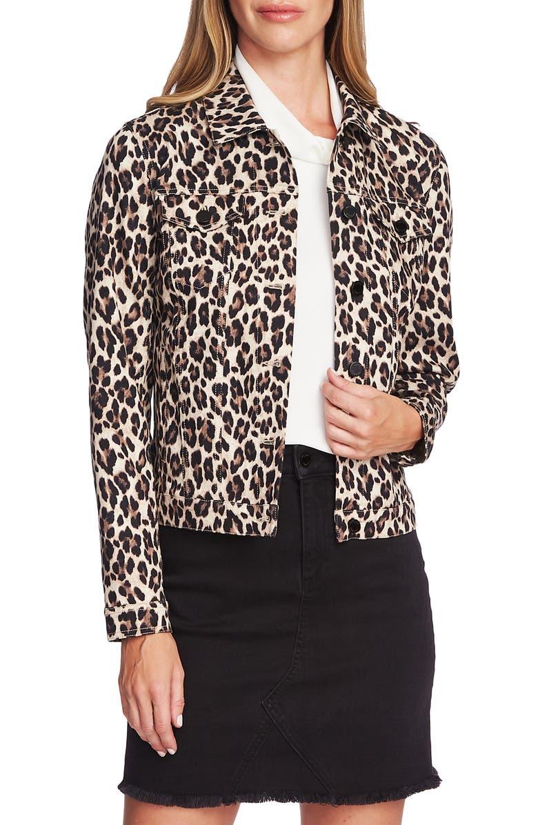 VINCE CAMUTO Leopard Print Denim Jacket, Main, color, 006