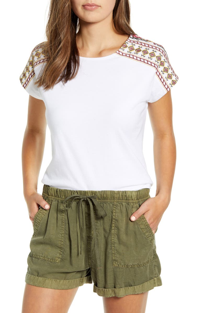 CASLON<SUP>®</SUP> Embroidered Shoulder Top, Main, color, WHITE