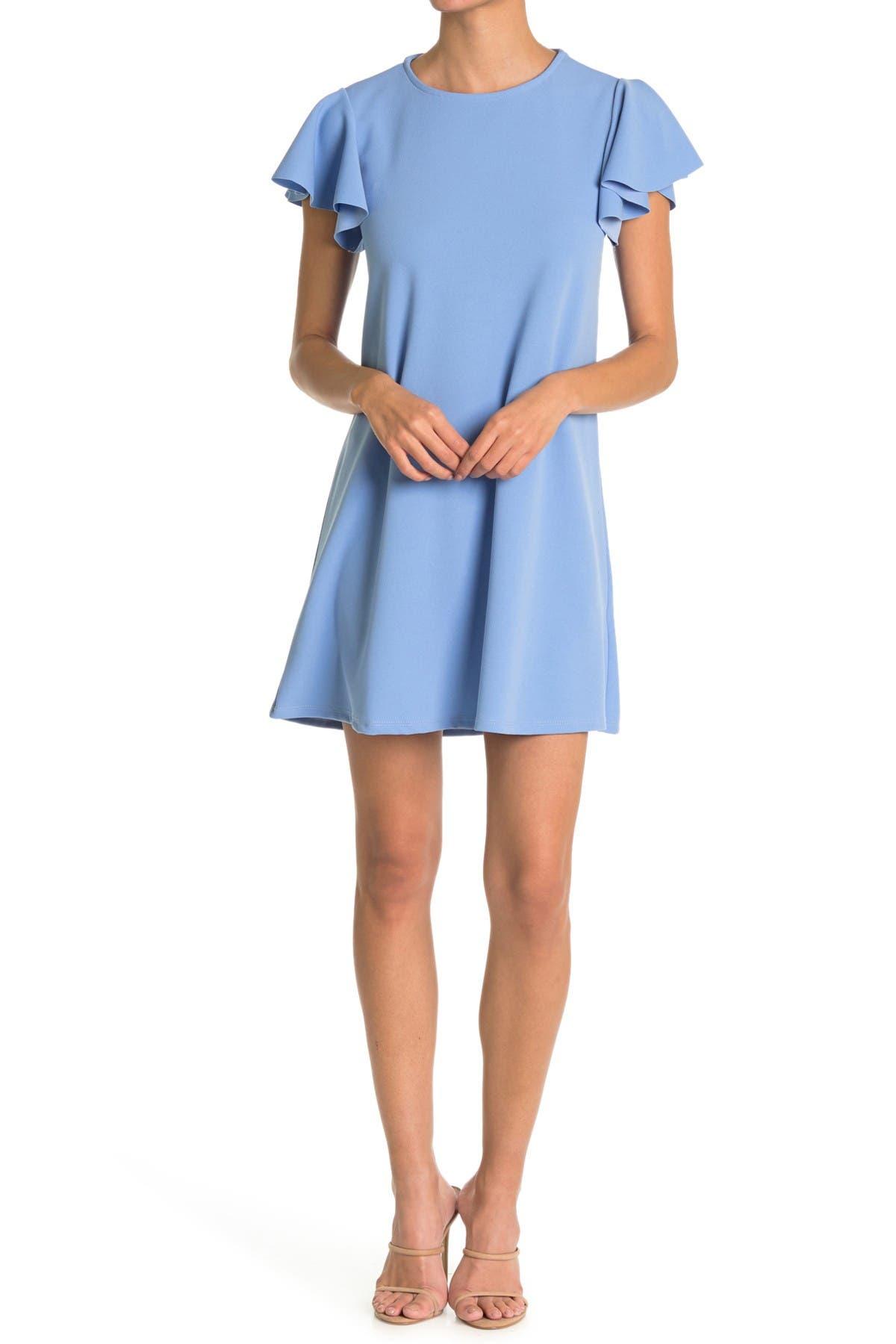 Image of TASH + SOPHIE Flutter Sleeve Scuba Crepe Dress