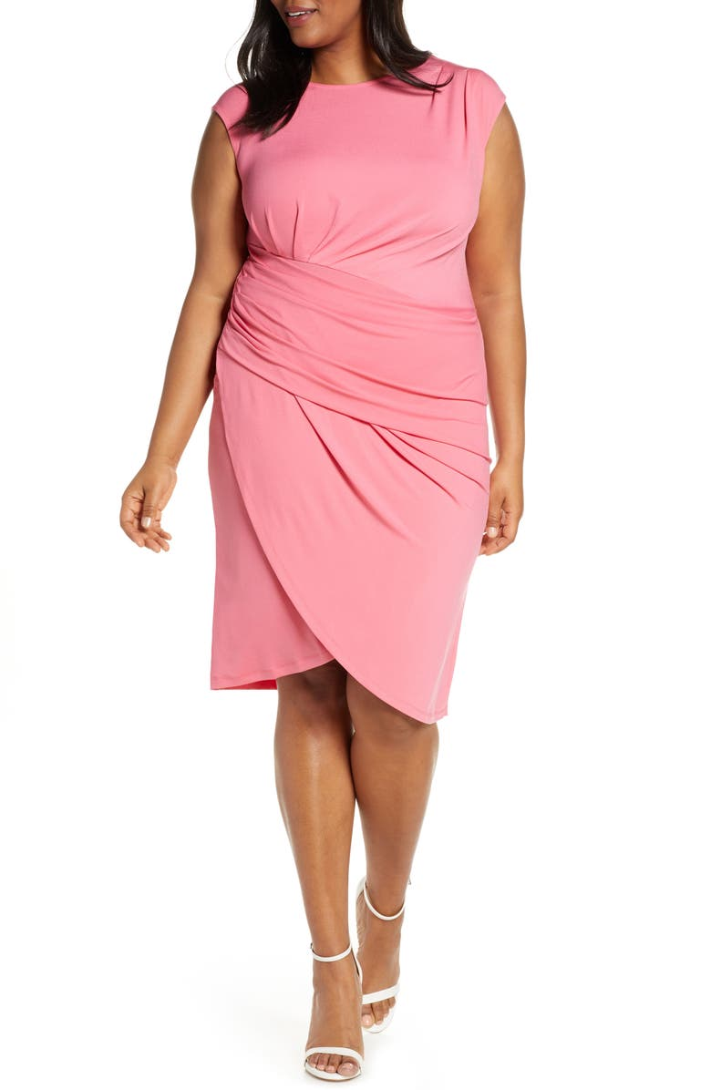 ELOQUII Draped Faux Wrap Dress, Main, color, PATINA