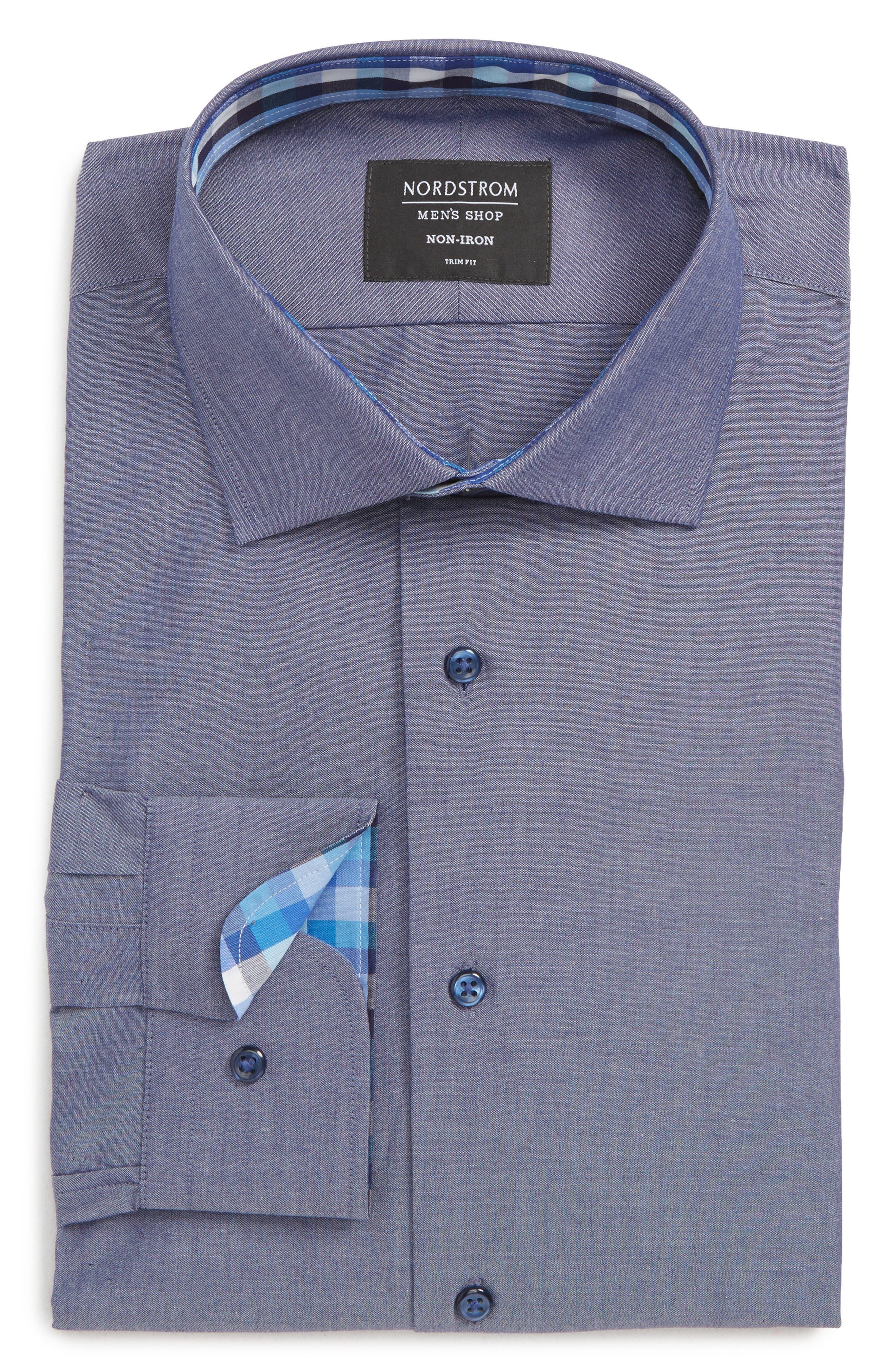 ,                             Trim Fit Non-Iron Solid Dress Shirt,                             Main thumbnail 1, color,                             420