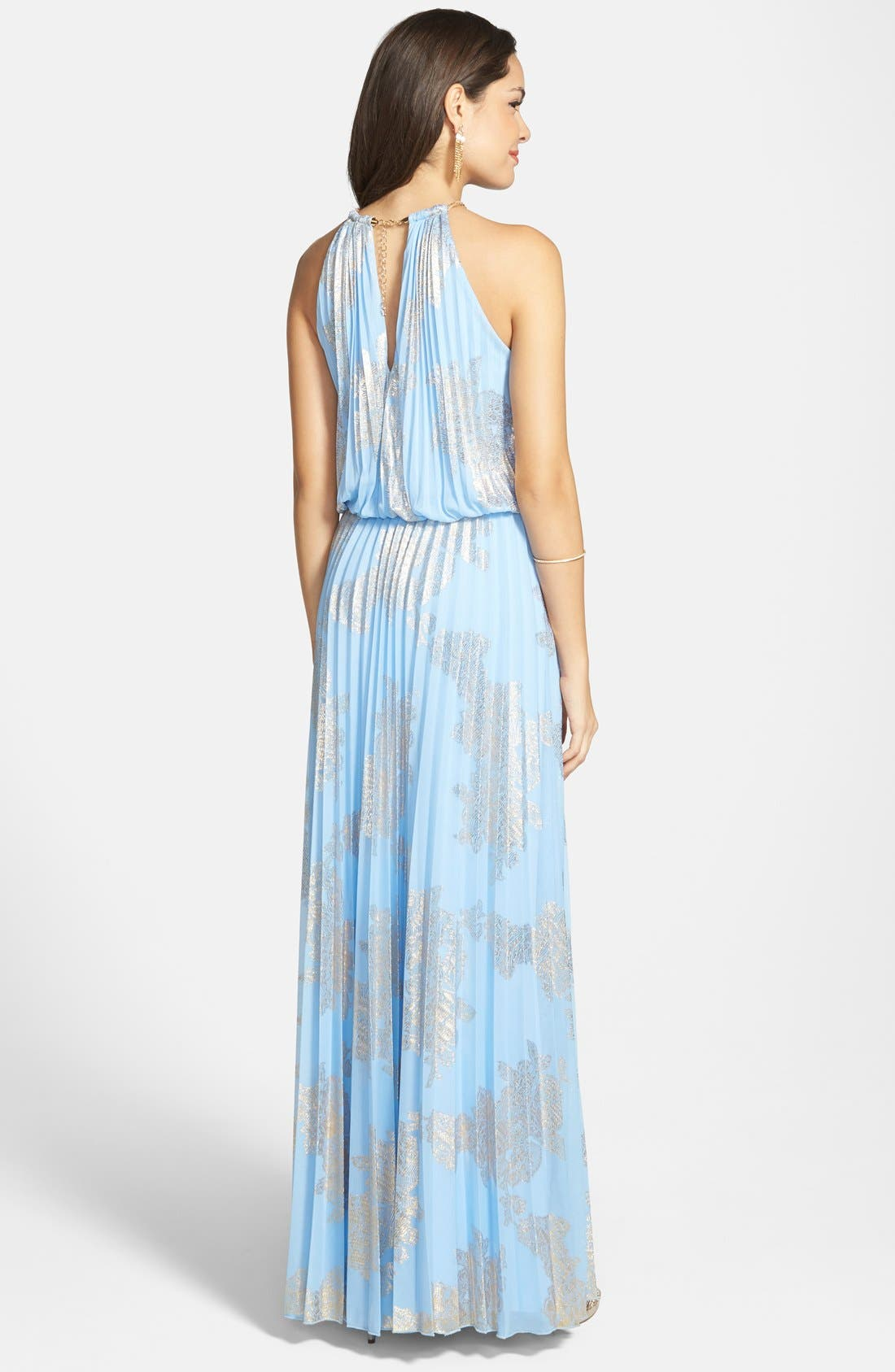 ,                             Foiled Pleated Jersey Blouson Dress,                             Alternate thumbnail 20, color,                             450