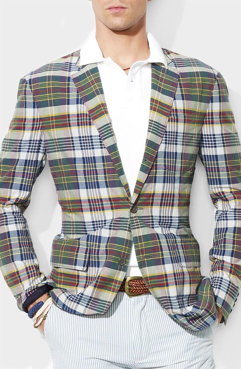 POLO RALPH LAUREN Madras Classic Fit Sportcoat, Main, color, MADRAS BLUE