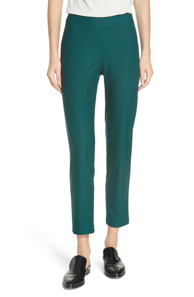 EILEEN FISHER Stretch Crepe Slim Ankle Pants, Main, color, PINE