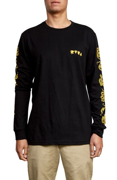 Rvca T-shirts SNAKE SKIN GRAPHIC LONG SLEEVE T-SHIRT