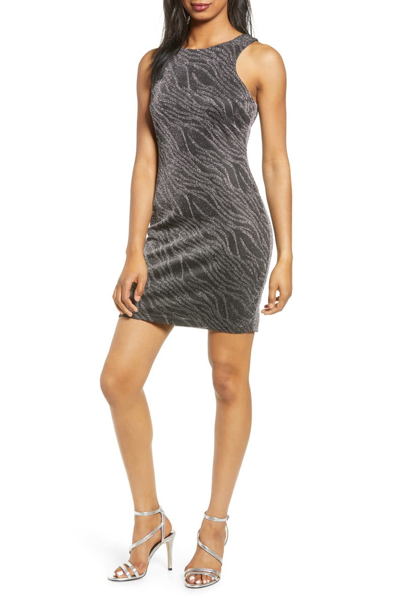 SPEECHLESS Shimmer Sheath Dress, Main, color, BLACK SILVER