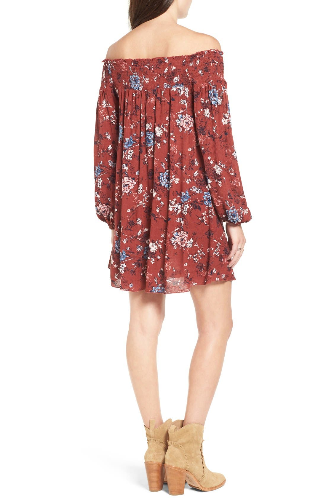 ,                             Floral Print Off the Shoulder Shift Dress,                             Alternate thumbnail 9, color,                             200