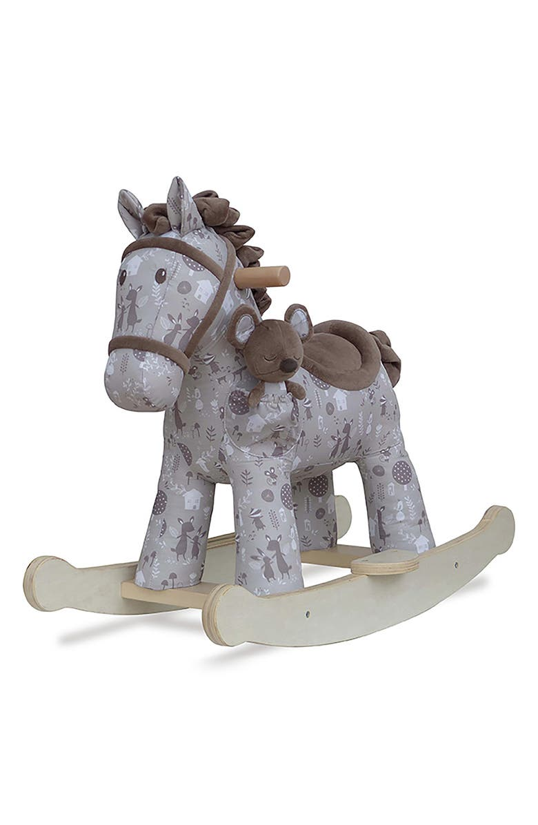 LITTLE BIRD TOLD ME Biscuit & Skip Rocking Horse & Stuffed Animal, Main, color, GREY