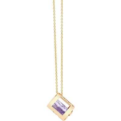 Conges Peace Of Mind Amethyst Barrel Initial Necklace