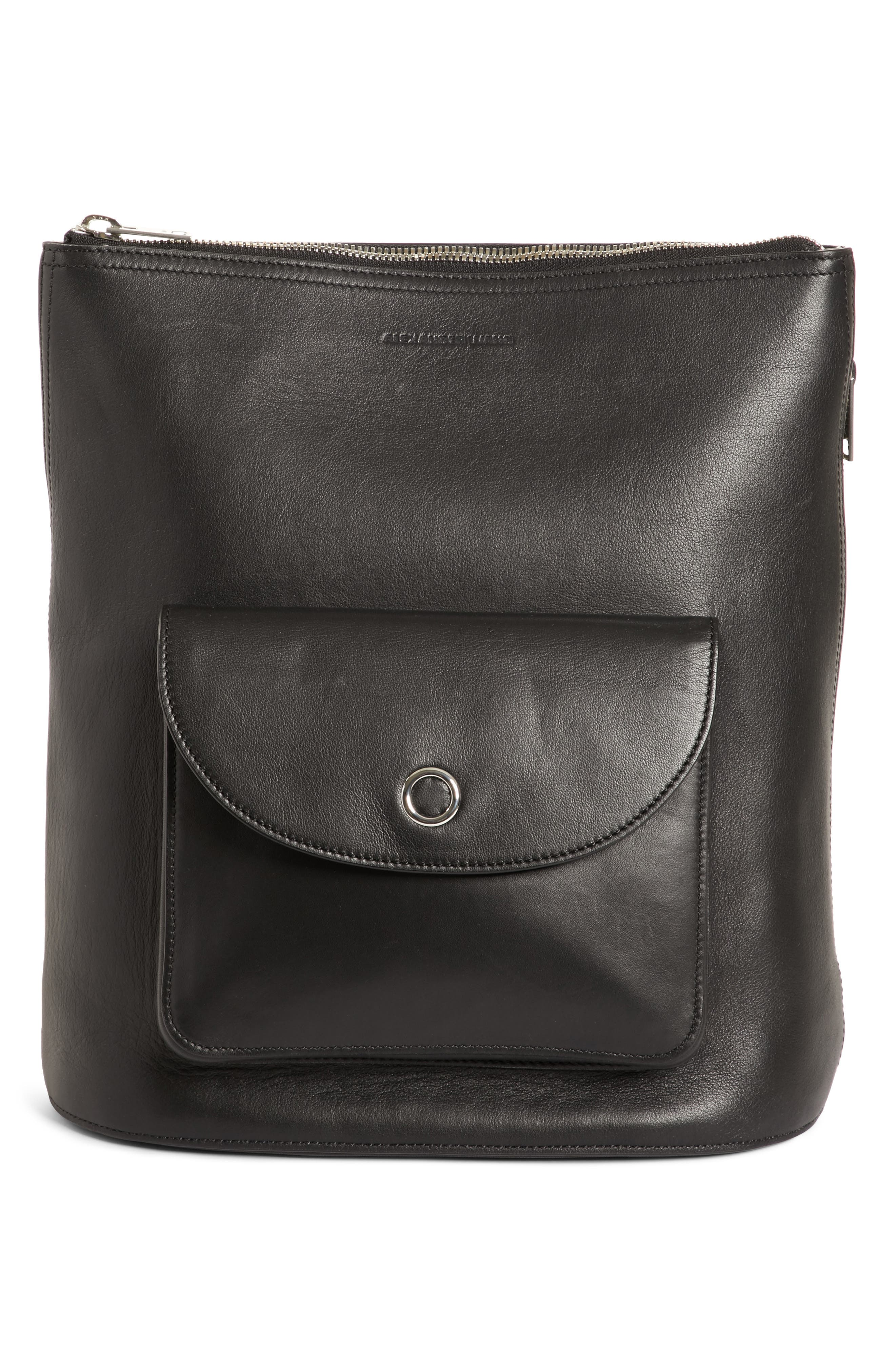 Ace Leather Backpack, Main, color, BLACK