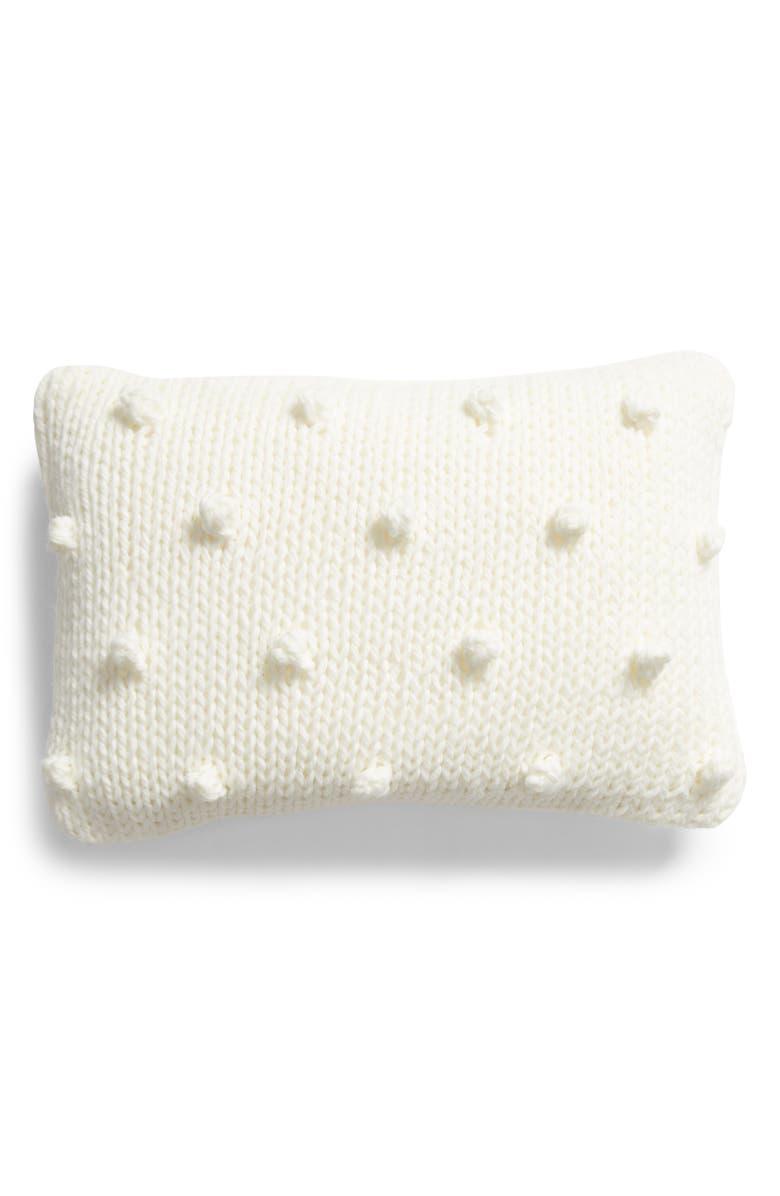 RACHEL PARCELL Bobble Knit Accent Pillow, Main, color, IVORY CLOUD