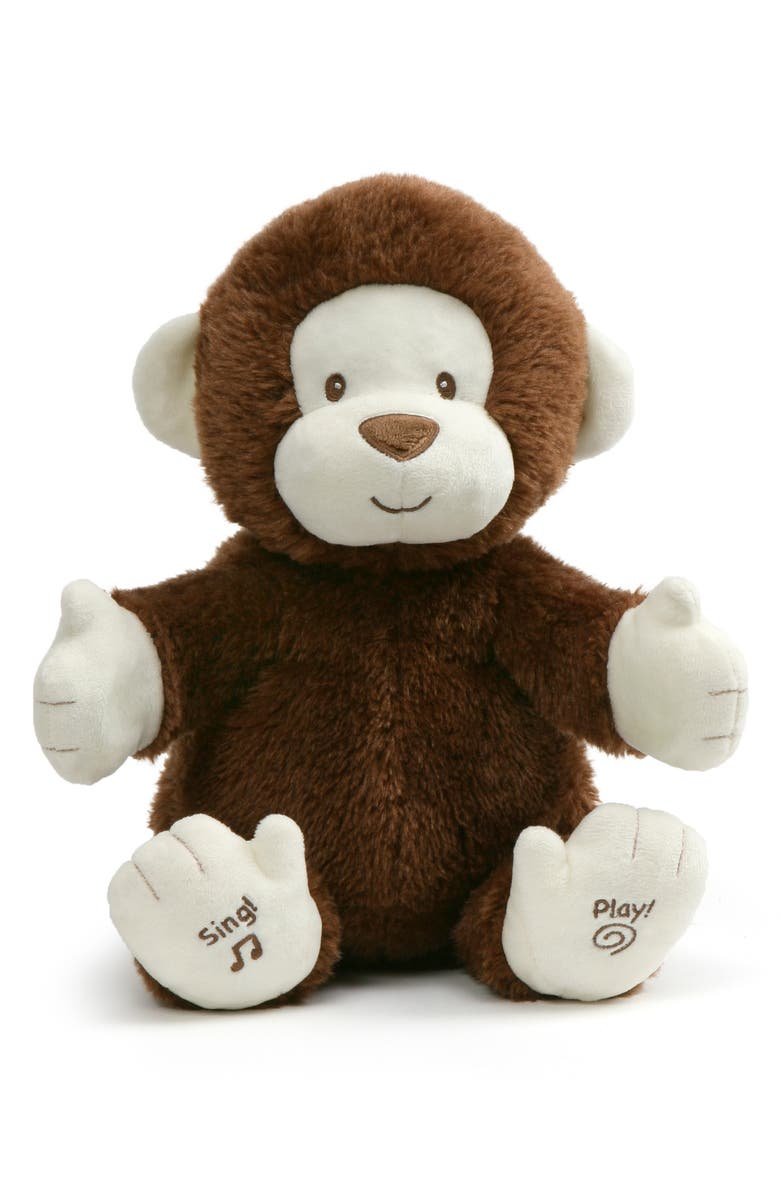 GUND Clappy the Monkey Musical Stuffed Animal, Main, color, BROWN/ RED