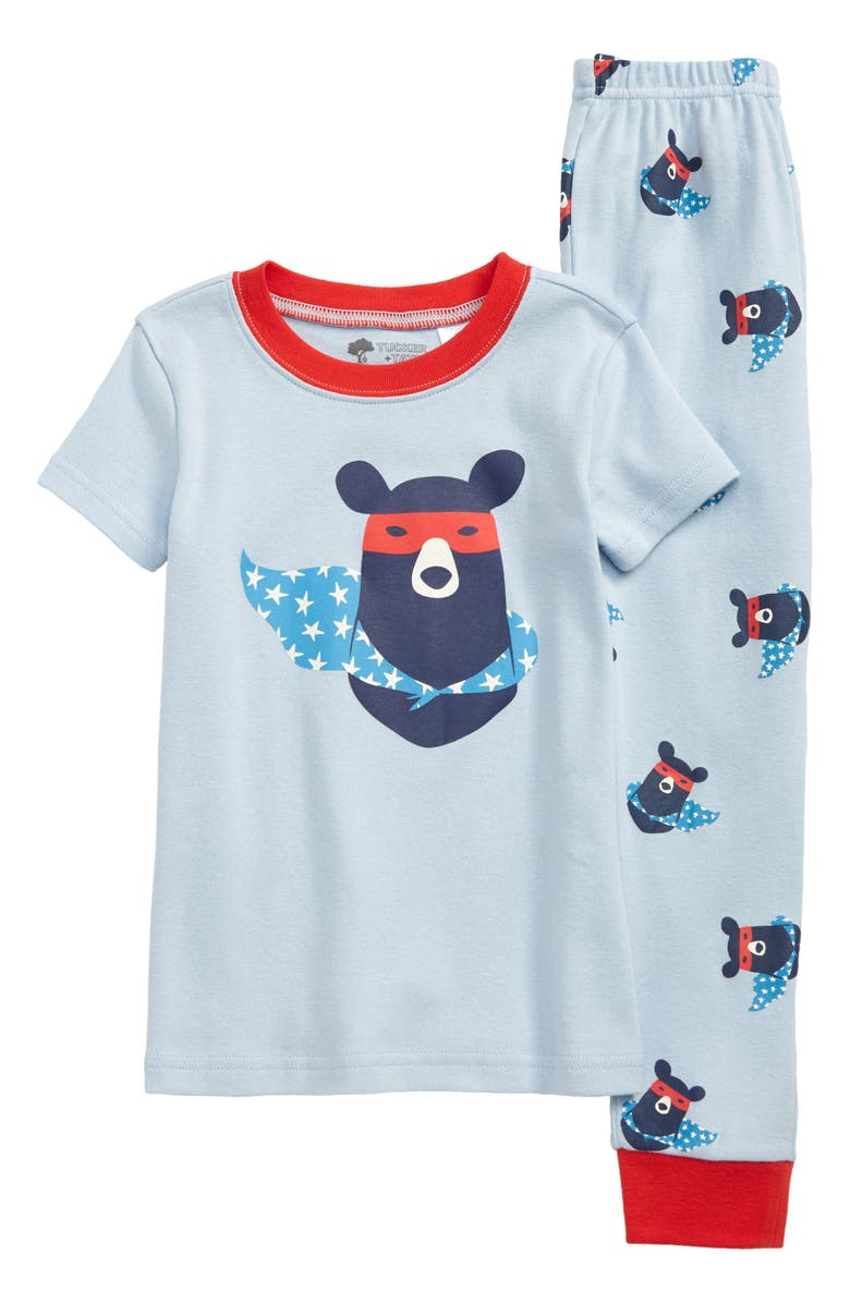 TUCKER + TATE Two-Piece Fitted Pajamas, Main, color, BLUE SKYWAY SUPER BEAR