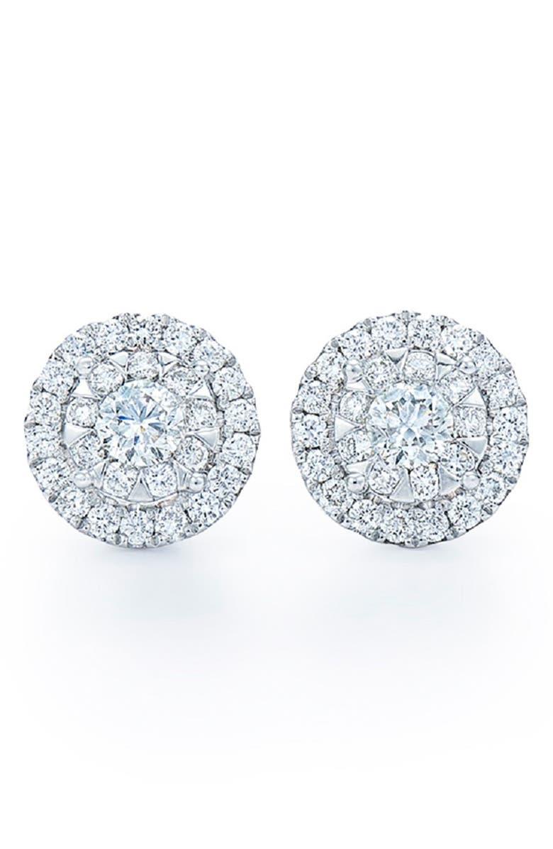 KWIAT 'Sunburst' Diamond Stud Earrings, Main, color, WHITE GOLD