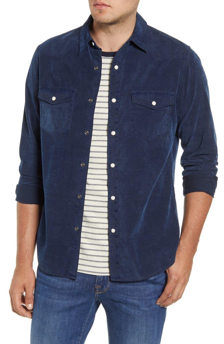 FRAME Corduroy Western Shirt, Main, color, INDIGO