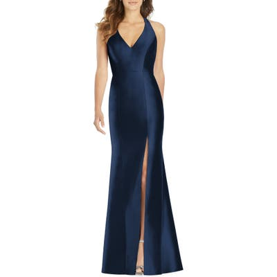 Plus Size Alfred Sung Halter Neck Sateen Twill Trumpet Gown, Blue
