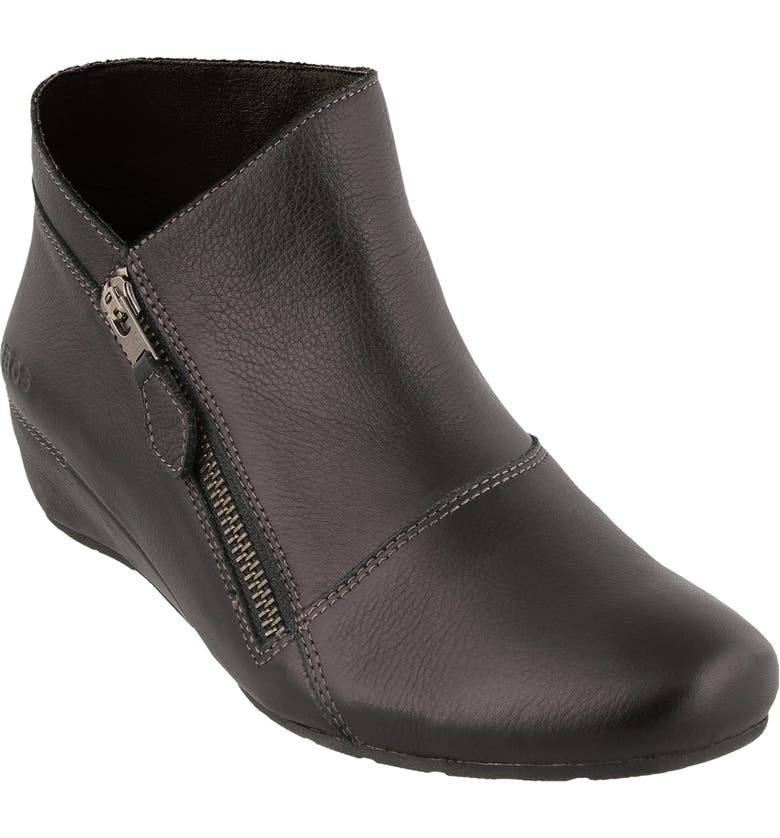 TAOS Hideaway Wedge Bootie, Main, color, BLACK LEATHER