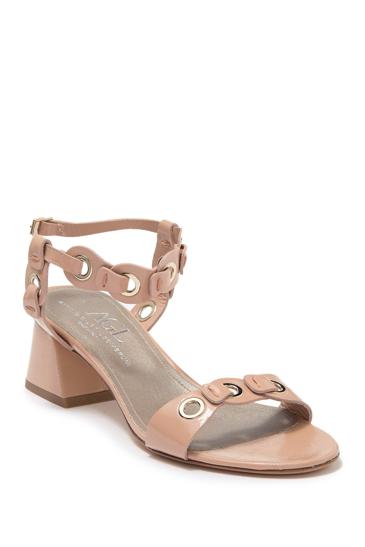 Image of AGL Patent Leather Grommet Block Heel Sandal