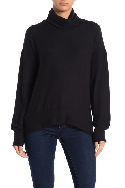 Image of Go Couture Turtleneck High/Low Hem Hacci Sweater