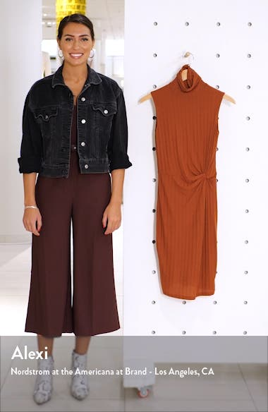 Take Me Downtown Turtleneck Side Twist Rib Dress, sales video thumbnail