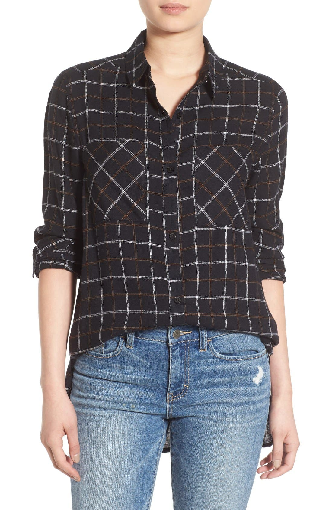 ,                             Plaid Tunic Shirt,                             Main thumbnail 8, color,                             002