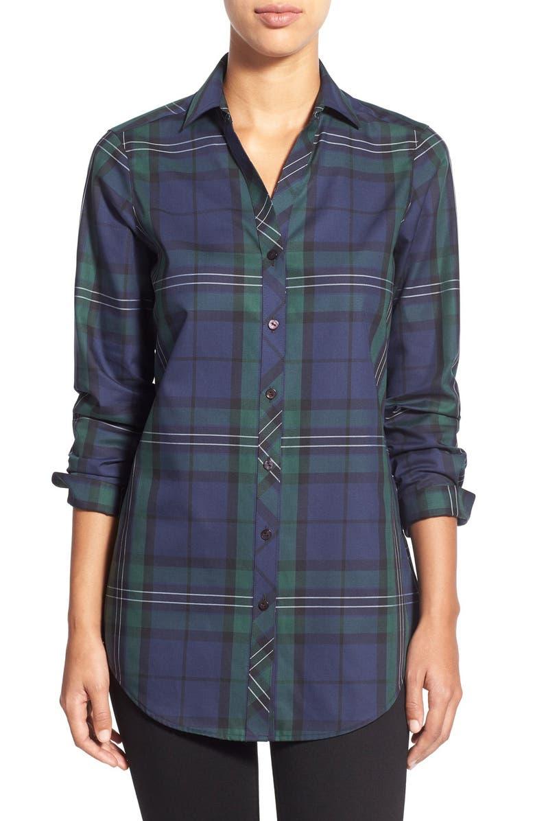 7010f3c7 Foxcroft Black Watch Tartan Wrinkle Free Tunic Shirt (Regular ...