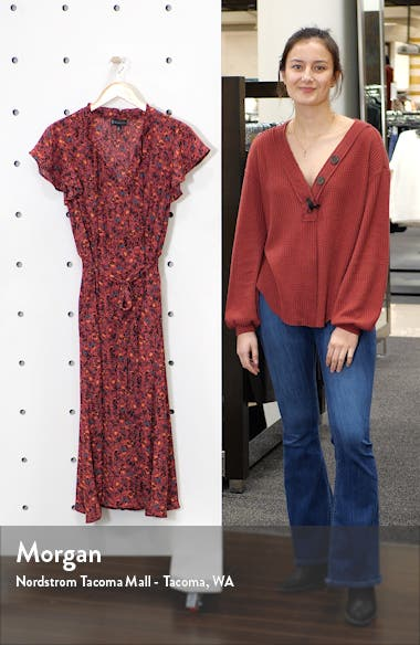 Savoy Flutter Sleeve Midi Dress, sales video thumbnail