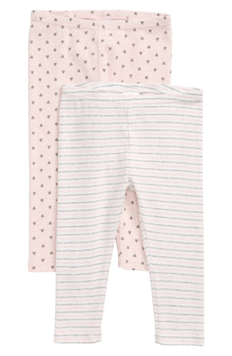 NORDSTROM BABY 2-Pack Leggings, Main, color, PINK BABY HEATHER PACK