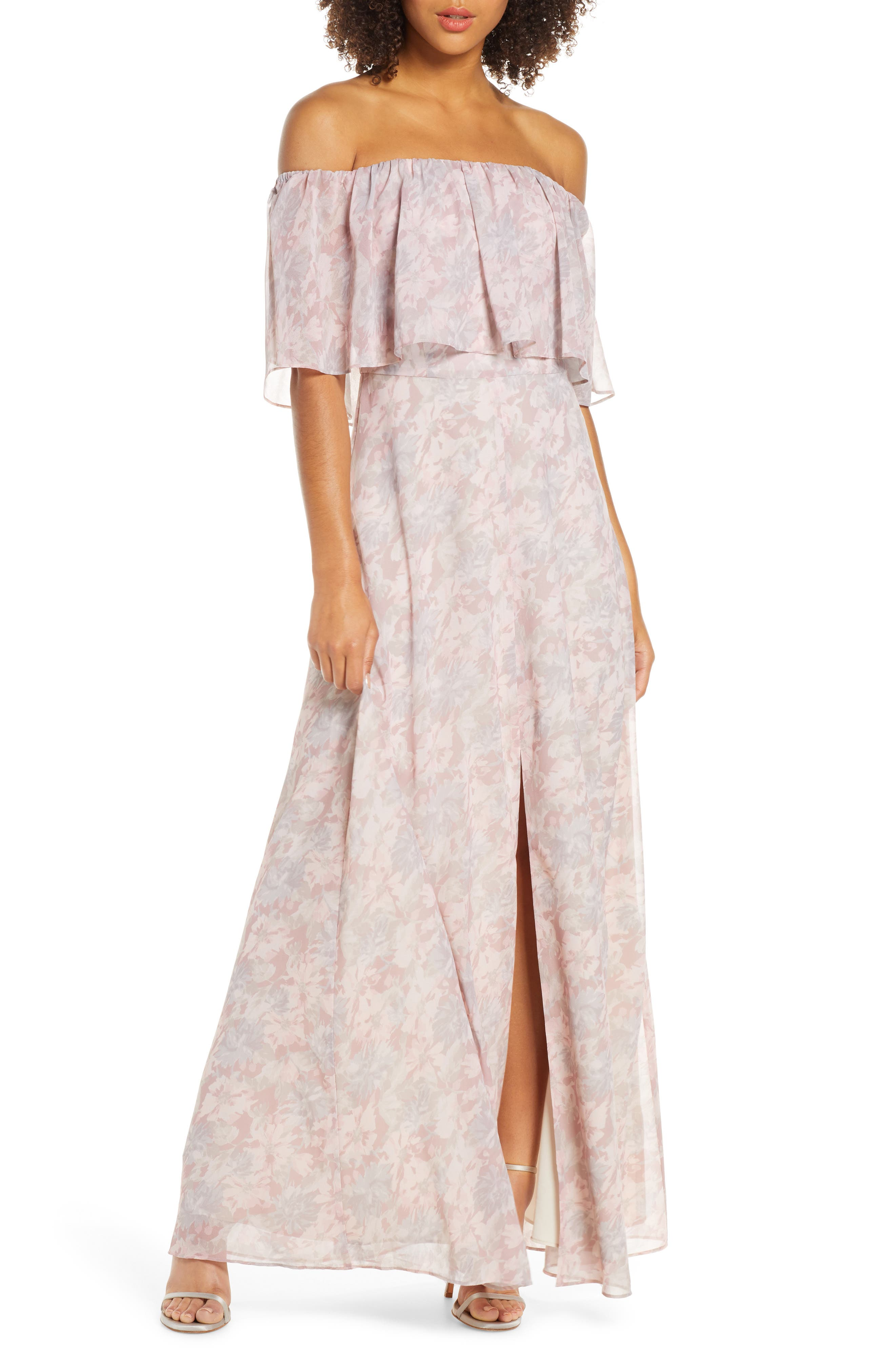 Wayf Floral Popover Off The Shoulder Chiffon Gown, Pink