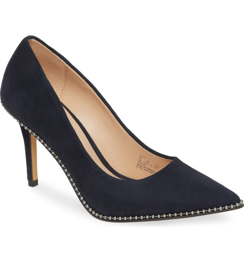 COACH Waverly Pointy Toe Pump, Main, color, MIDNIGHT NAVY SUEDE