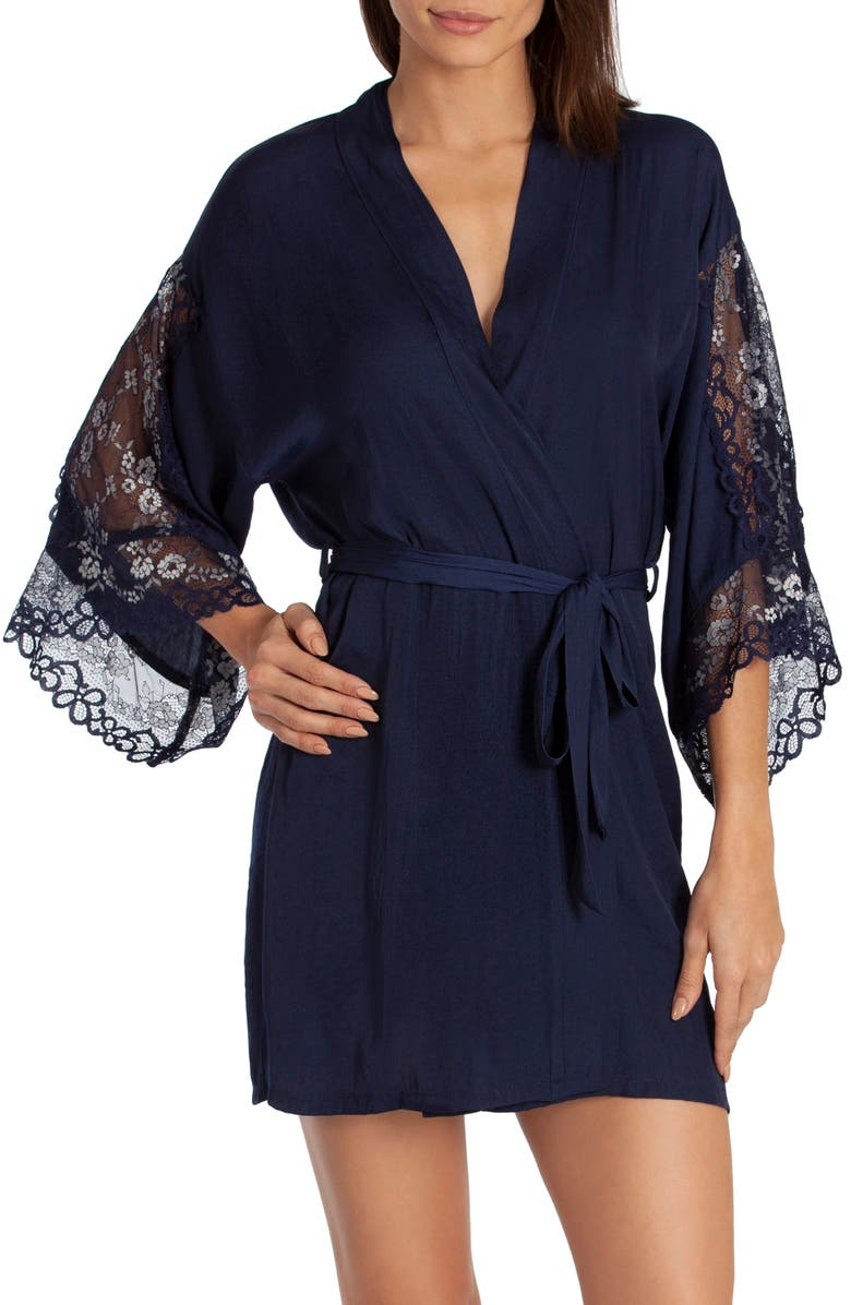 IN BLOOM BY JONQUIL Just Like Heaven Short Satin Wrap, Main, color, NAVY BLUE