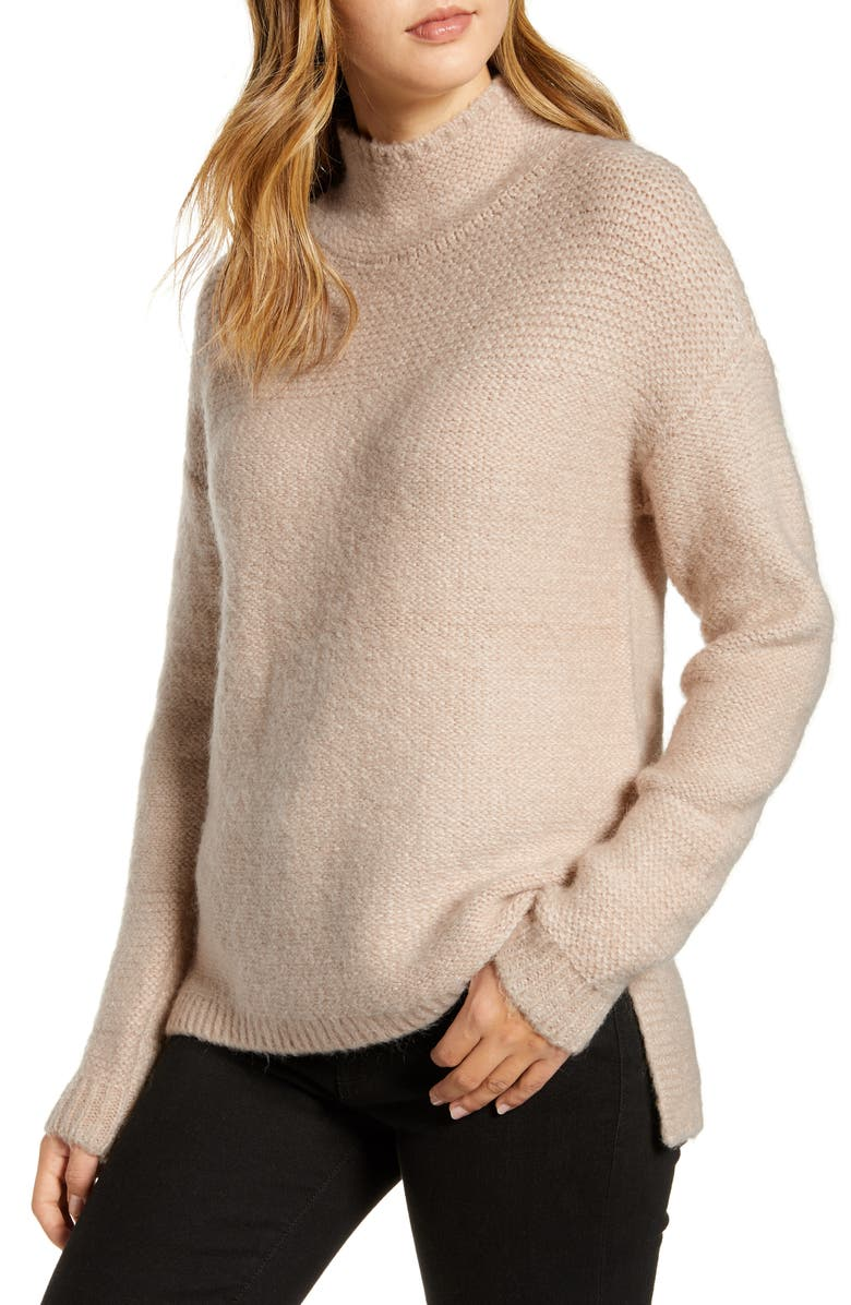 CASLON<SUP>®</SUP> Mock Neck High Low Sweater, Main, color, TAN CAMEL