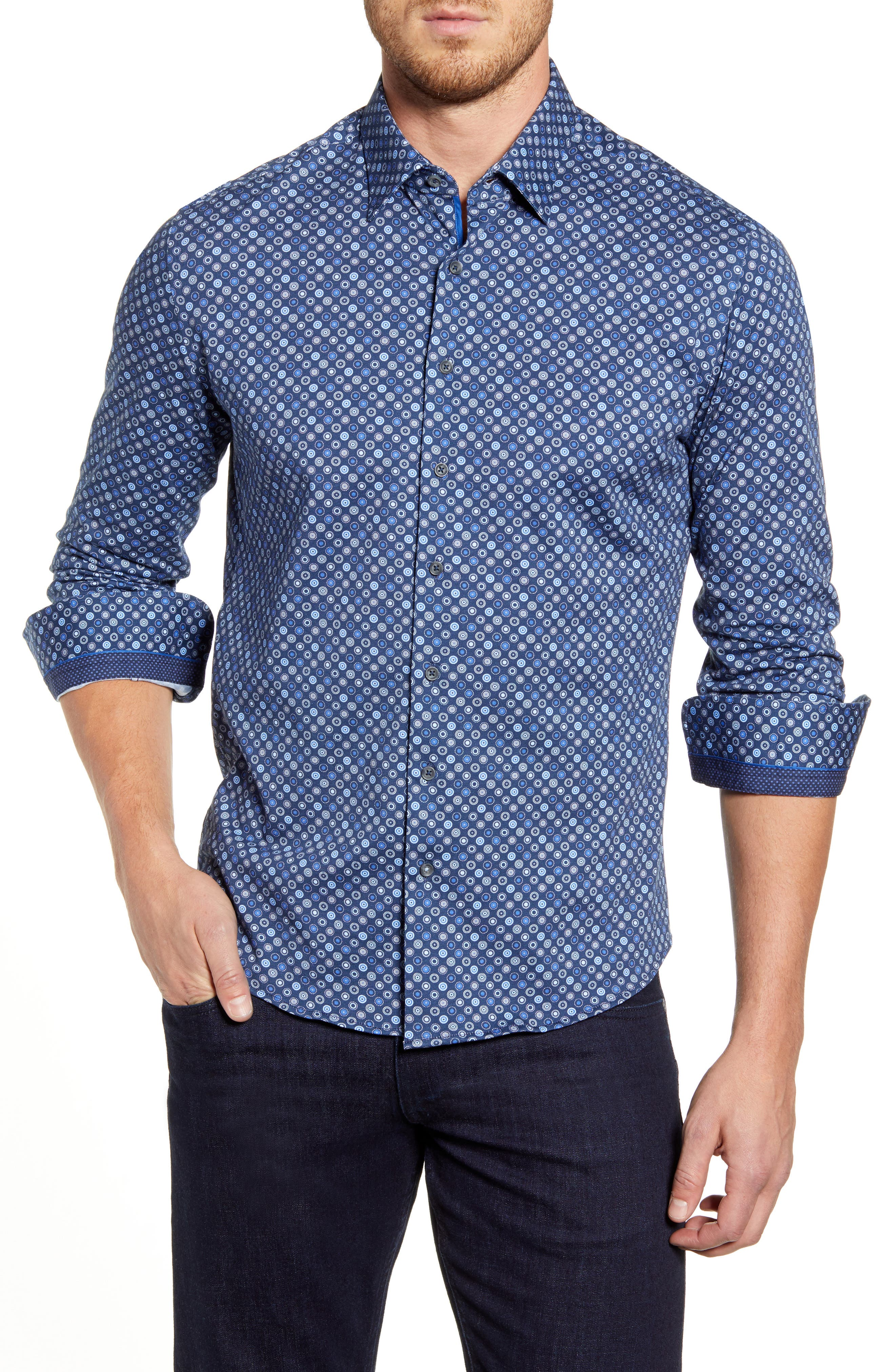 Image of Stone Rose Circle Print Regular Fit Knit Shirt